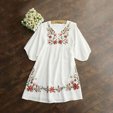 Vintage 70s Mexican Ethnic Floral Embroidered Hippie Top Blouse Dress Free Sz