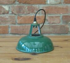 "Vintage & Aged 9"" Coolicon Style 1950's Enamel Pendant Lamp/Light REWIRED"