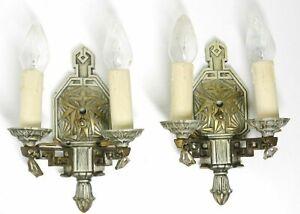 Pair 2X Art Deco Style Cast Metal Wall Sconces 2 Arm Electric Geometric Design