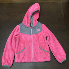 The North Face Girl's Bright Pink Gray Fleece Hooded Full Zip XXS (5) Pockets
