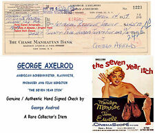 GEORGE AXELROD  FILM SCREEWRITER DIRECTOR PRODUCER   HAND SIGNED CHEQUE   RARE