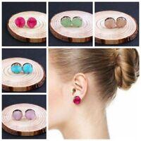 Crystal Quartz Druzy Earrings Natural Resin Stone Round Multi Color Ear Stud New