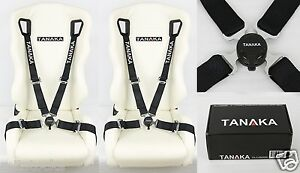 2X TANAKA BLACK 4 POINT CAMLOCK QUICK RELEASE RACING SEAT BELT HARNESS FIT DODGE