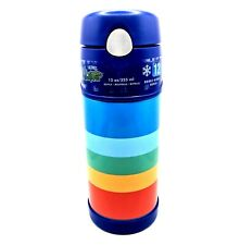 Thermos FUNtainer 12oz Rainbow Blue 355ml Insulated Water Bottle Straw Lid Retro