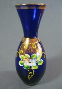 Retro/vintage 60s-70s blue / gilt enamelled flower glass vase 16cm high