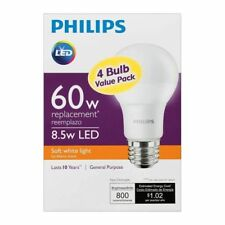PHILIPS 460311 60 Watt Equivalent Soft White A19 LED Light Bulb - 4 Pack