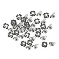 50 Pieces/Pack Four Claw Nail T Nuts Pronged Threaded Insert Zinc-Plated