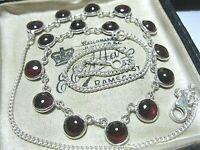 Beautiful Vintage Style Jewellery Sterling Silver GARNET Gem Stone Drop NECKLACE