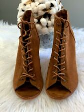 "Women's Urban Outfitters Size 10 Lace Up Open toe Brown Booties 3"" Block Heel"