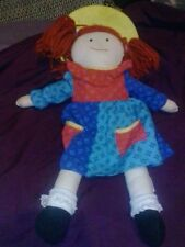 """Madeline Doll Plush Blue dress & Yellow Hat by Eden Measures 15"""" 1994 toy kids"""
