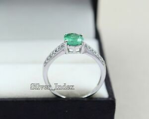 Natural 9X7 MM Zambian Emerald 925 Sterling Silver May Birthstone Gorgeous Ring