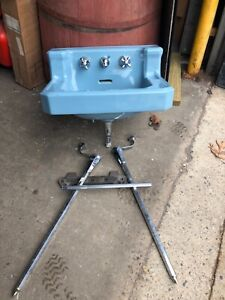 c1950 Powder Blue Vintage Blue American Standard sink original chrome leg & bar