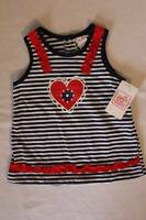 NEW Baby Girls 4th of July Sleeveless Top 24 Months Red White Blue Shirt Heart