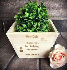 Personalised Plant Pot Holder Teacher Gift End Of Term Flower Wooden Box