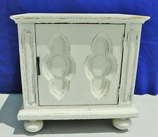 Antique/Vtg Shabby Cottage Chic White Distressed Wood Side/End Table Nightstand