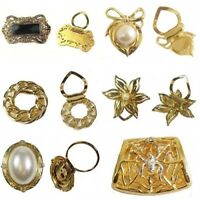 Ladies Gold Scarf Scarves Clip Ring Pin Vintage Pearl Flower Spider Shawl Women