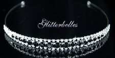 Bridal Bridesmaids Wedding Prom Silver Crystal BLACK PIXIE TIARA NEW LOWER PRICE