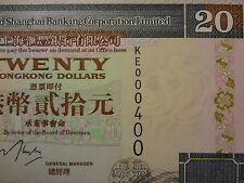 "HONG KONG 1998 HSBC 20 DOLLARS, ""1 DIGIT"" LOW NUMBER KE 000400, ULTRA GEM UNC"
