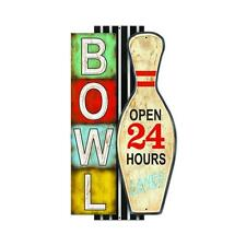 Bowling Pin Alley Open Metal Sign Man Cave Gameroom Unique Wall Decor PTS438