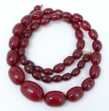 "Antique Art Deco 14K Faturan Cherry Amber Bakelite Bead 28"" Necklace 54.5 grams"