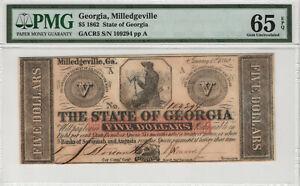 1862 $5 STATE OF GEORGIA MILLEDGEVILLE GEORGIA OBSOLETE NOTE PMG GEM UNC 65 EPQ