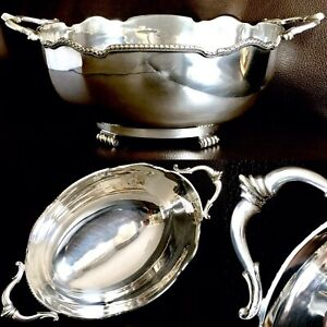 """Large Antique (1920s) English Silver Plated 12""""/30cm Oval Serving Bowl (750g)"""