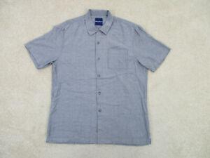 Tommy Bahama Button Up Shirt Adult Medium Gray Black Silk Casual Mens A28