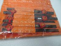 New Asian 6 orange table cloth placemats napkins & 6 pairs chopsticks set