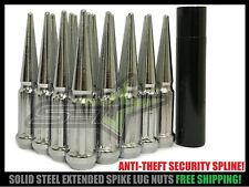 32 Chrome Spike Lug Nuts 14x1.5 + Key For Silverado F250 F350 ANTI THEFT SPLINE!