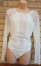 NEXT WHITE LACE INSERTED LONG SLEEVE LYCRA FIT PARTY BLOUSE BODYSUIT TOP 18