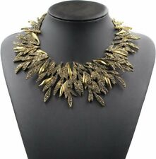 Gold Leaf Statement Necklace Bib Womens Ladies Choker Elegant Jewelry UK