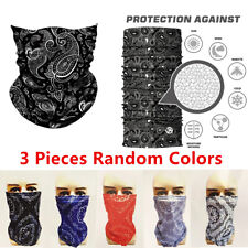 3Pcs Paisley Multi Use Tube Bandana Scarf Head Face Mouth Cover Mask Neck Gaiter