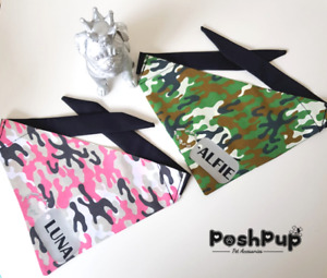 ARMY CAMOUFLAGE DOG/PET BANDANA WITH TIES PERSONALISED DOG TAG PINK GREEN