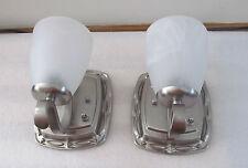 Pair Ornate Scoll 12 VOLT RV Trailer Wall Sconce Nickel Alabaster Light Lamp