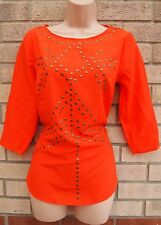 G21 ORANGE STUDDED STUDS BEADED FRONT SILKY FEEL BLOUSE TUNIC TOP SHIRT 8 S