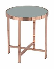 Coffee Table Decor Glass Round Side End Lamp Copper Mirror -ST16MR