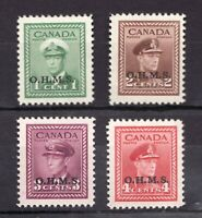 O1 O2 O3 O4 Set - MNH - OHMS 1949 - KGVI - Canadian stamps.  Superfleas cv$30