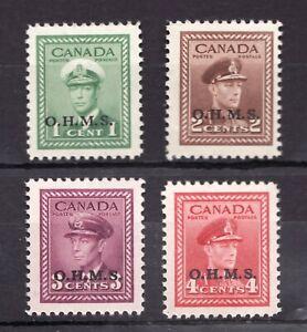 O1 O2 O3 O4 Set - MNH - OHMS 1949 - KGVI - Canadian stamps.  Superfleas cv$30