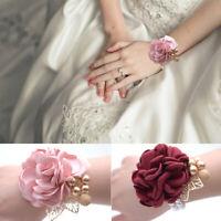 Bride Wrist Corsage Sister Hand Flower`Groom Boutonniere Man Wedding Party