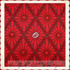 BonEful Fabric FQ Cotton Home DECOR Xmas Red Brown Daisy Flower Diamond Pattern