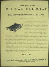 Victoriano anuncio 1897 Ross especial reóstato Ross Hepworth arco lámpara de proyección