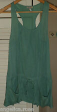 RIVER ISLAND GORGEOUS SAGE GREEN SUMMER BEACH STRAPPY CAMI POCKETS LONG TOP UK 6