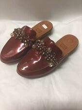 NEW FITFLOP RED TRADE SERENE DECO BEADED EMBELLISHED CLOGS MULES SIZE 7
