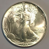 1986 1 oz Silver American Eagle with possible Spots, Abrasions or Toning