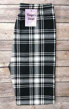 PLUS Size Black White Plaid Leggings Peachskin Soft Plus Curvy