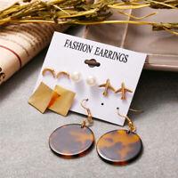5 Pairs Fashion Women Geometric Pearl Moon Plane Earrings Set Ear Stud Jewelry