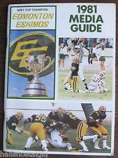 1981 Edmonton Eskimos Media Guide (QB Warren Moon)