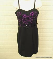 Slip Dress Orchid Purple Black Lace Juniors Sz Medium Dance Party Lily Rose NWT