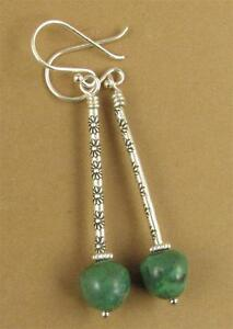 Long drop earrings with turquoise. Flowers. Fine & sterling silver. Handmade.