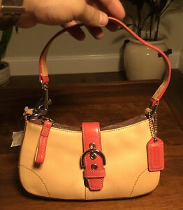 Coach Tan And Pink Vachetta Leather With Chrome Accents Purse New With Tags